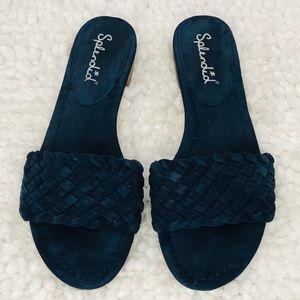 Blue Woven Suede Slide Sandals by Splendid